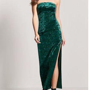 Forever21 strapless velvet maxi dress